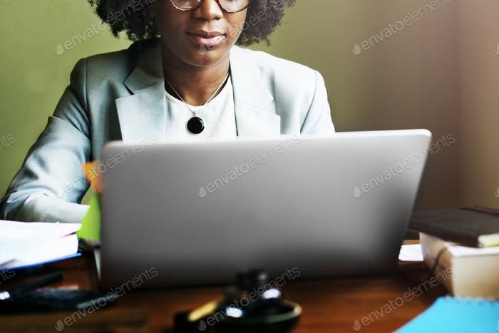 Woman Working Busy Office Concept