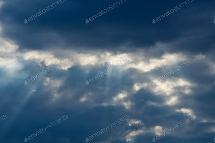 Beautiful sunlight ray and cloudy in blue sky