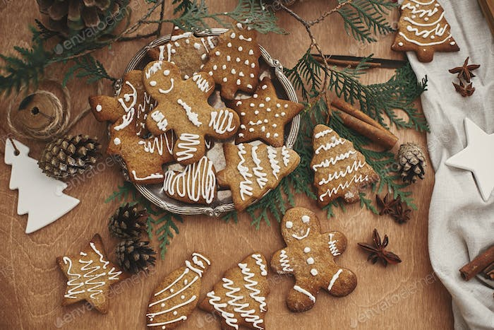Christmas gingerbread cookies on vintage plate