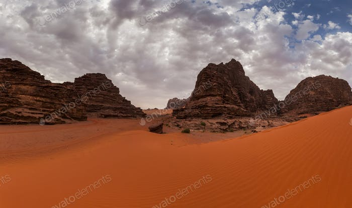 Beautiful views of the Wadi Rum desert. Jordan