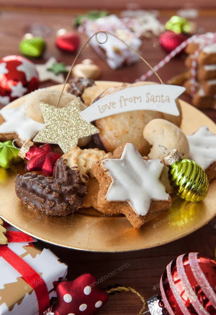 Christmas cookies and festive decoration