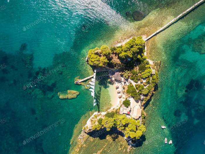 Aerial view of Cameo Island in Zakynthos (Zante) island, in Gree