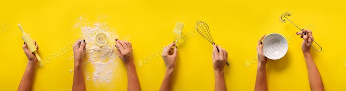 Female hands holding kitchen tools, sieve, rolling pin, bowl, sieve, brush, whisk, spatula for