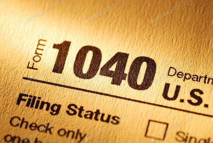 Formular 1040 für die Erklärung der Einkommensteuer