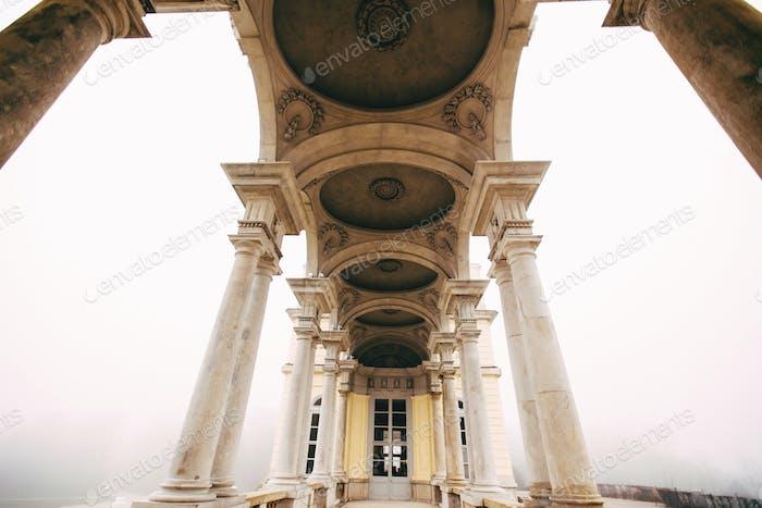 Schonbrunn Castle in Vienna. Arch architecture. Summer house