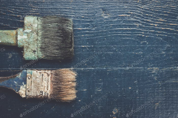 old brushes on the table