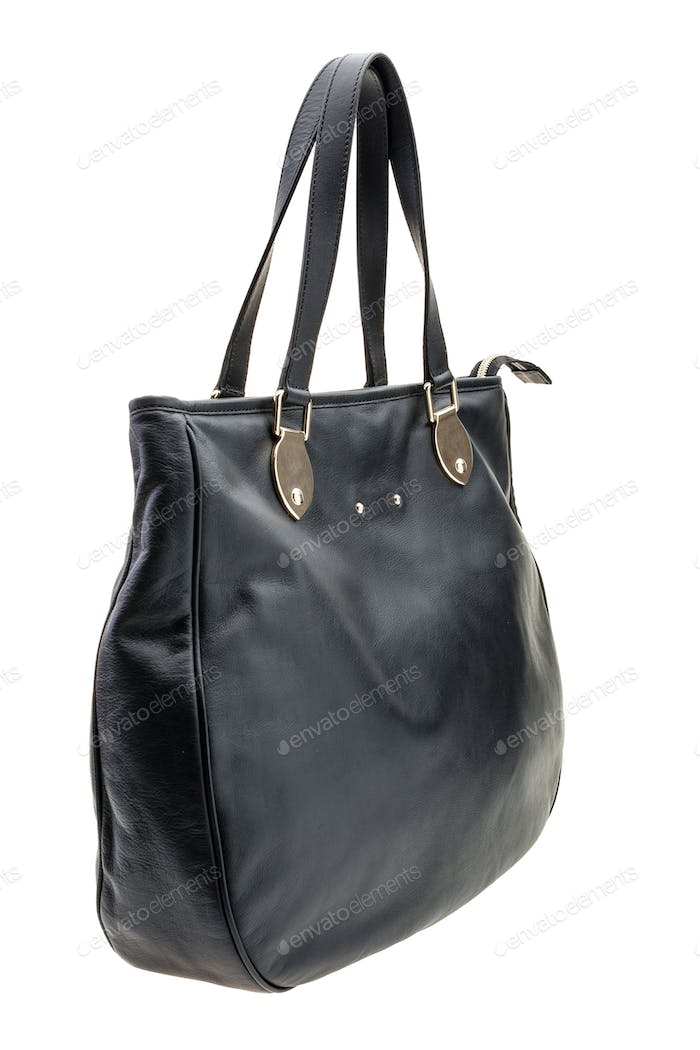 Black womens bag isolated on white background.