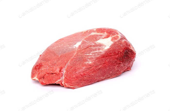 Piece of fresh raw horse meat isolated on white background