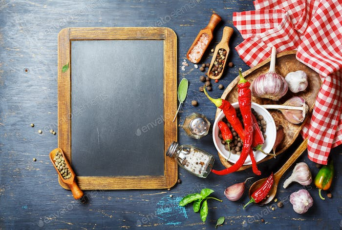 Spices and blackboard