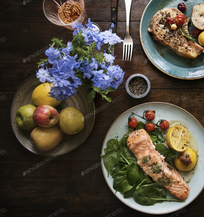 Table for two food photography recipe idea