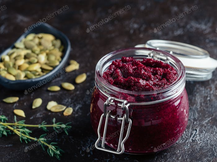 Beetroot pesto with copy space