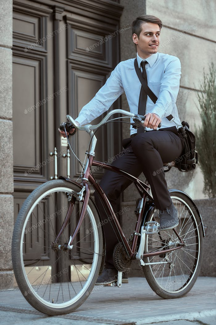 Worker with bicycle