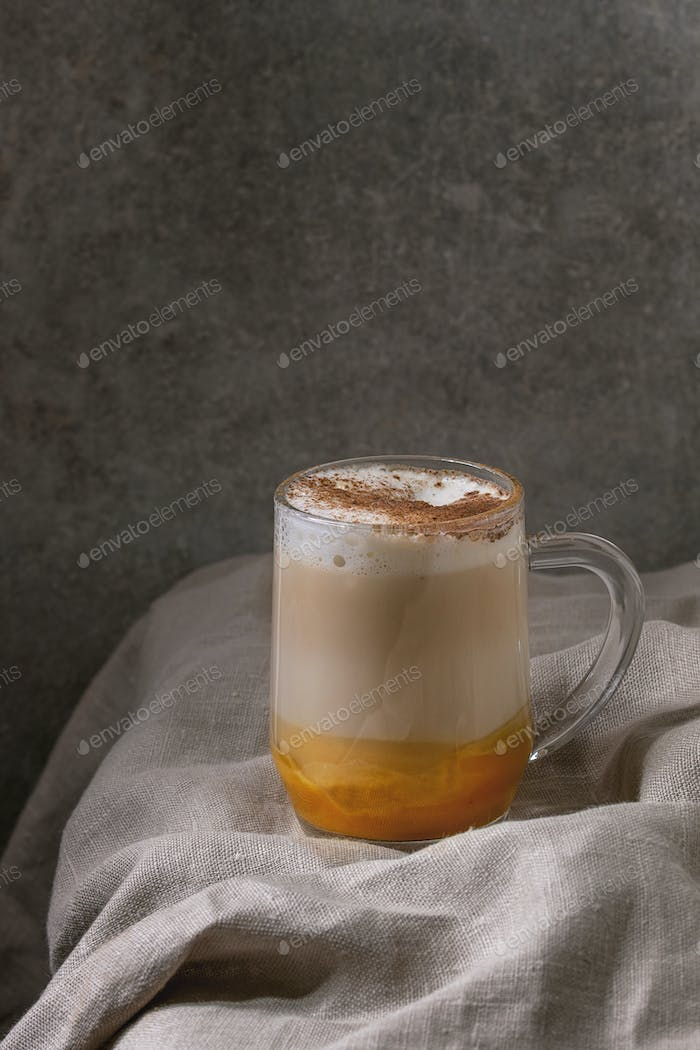 Glass of pumpkin spice latte