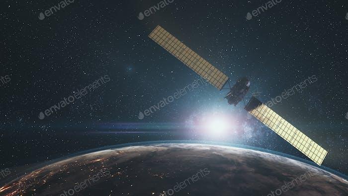 sonda espacial moderna volando cerca del planeta giratorio