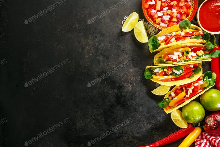 Thumbnail for Tasty appetizing tacos with vegetables