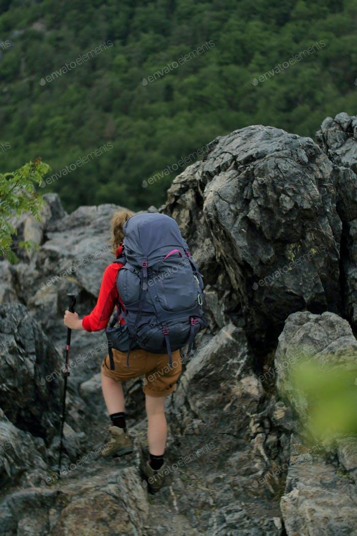 Wanderer wandern auf einem weg