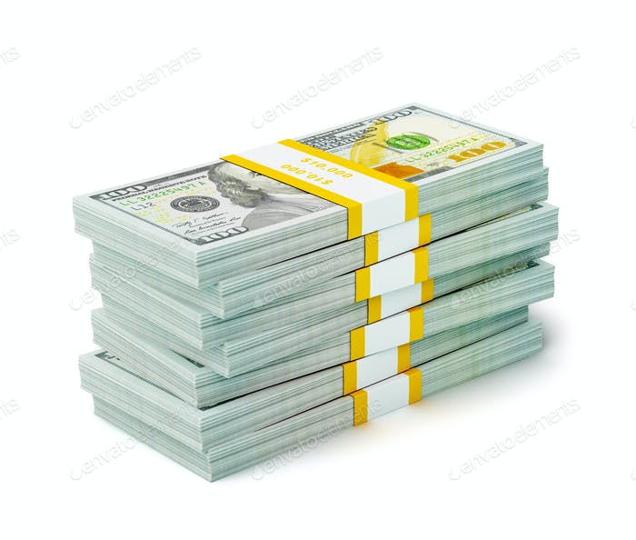 Stack of new 100 US dollars 2013 edition banknotes