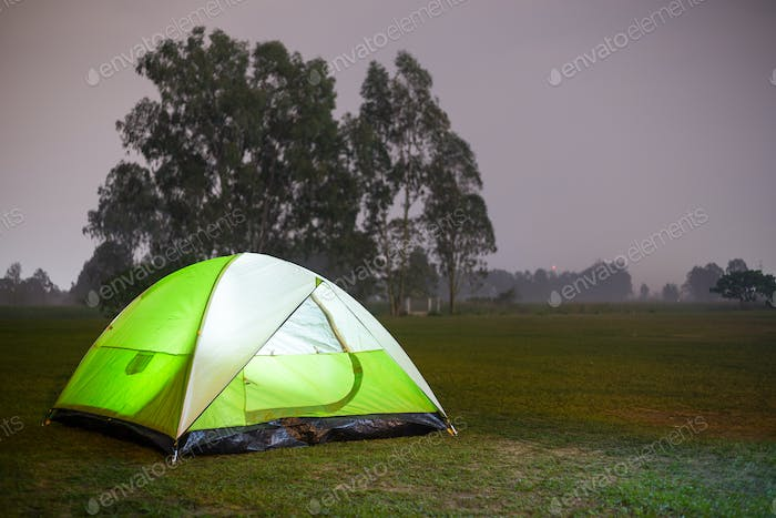 Camping Tent Illuminated Inside