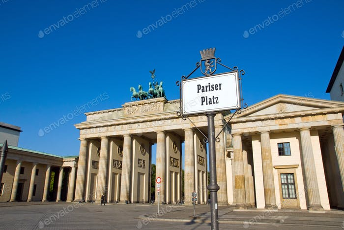 Brandenburg Gate with Street sign