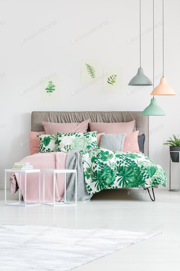 Floral bedding on king-size bed
