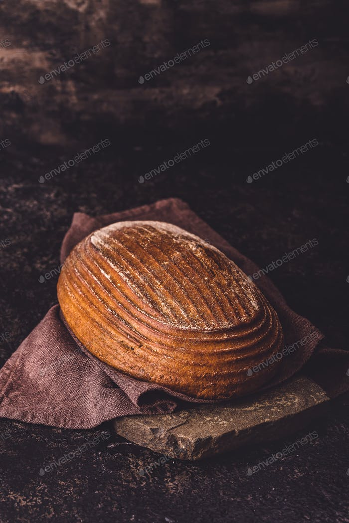Rye bread on stone