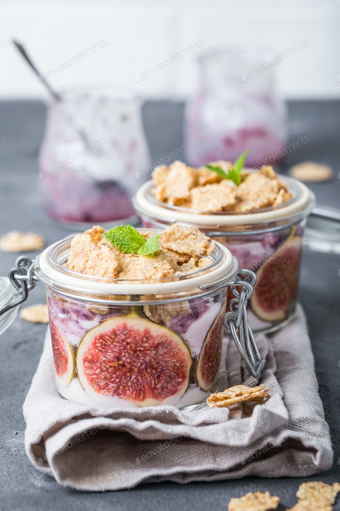 Yoghurt in jar with muesli