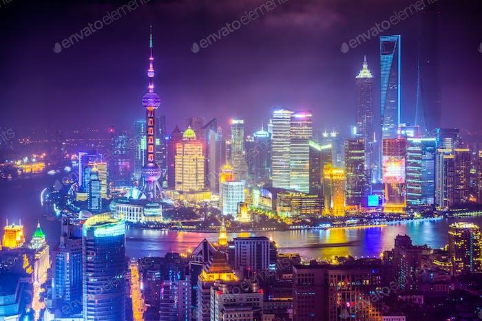 Shanghai China cityscape at Night