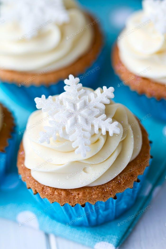 Schneeflocke Cupcakes
