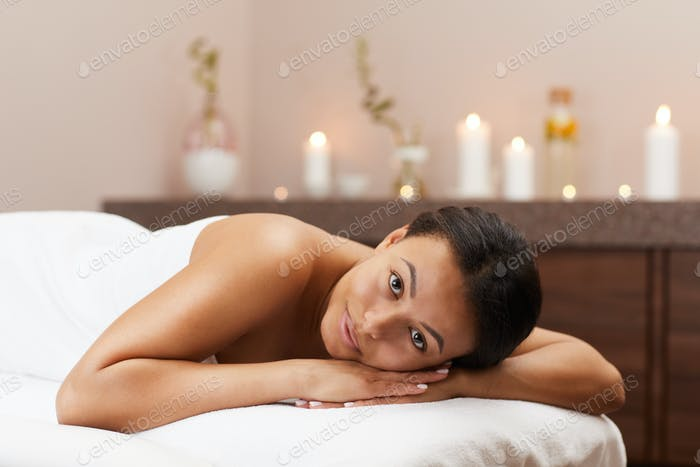 Mixed-Race Woman Enjoying Spa