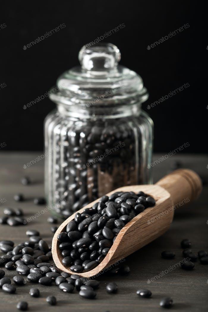 black turtle beans legumes in scoop