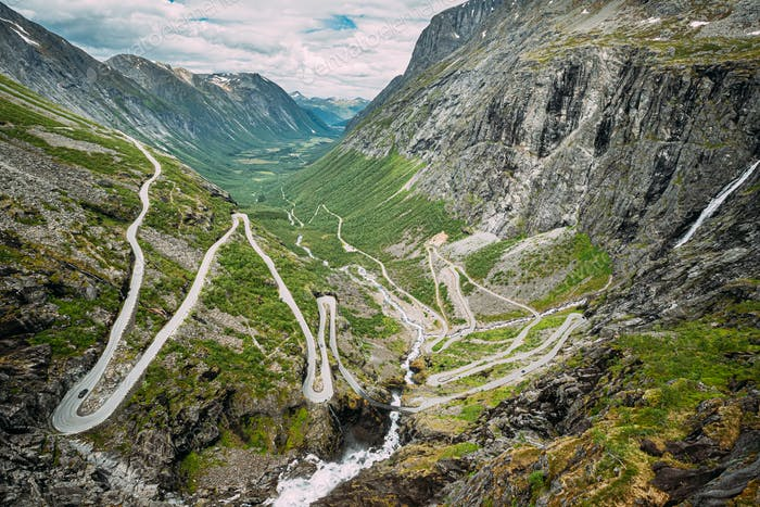 Trollstigen, Andalsnes, Norway. Serpentine Mountain Road Trollstigen. Famous Norwegian Landmark And