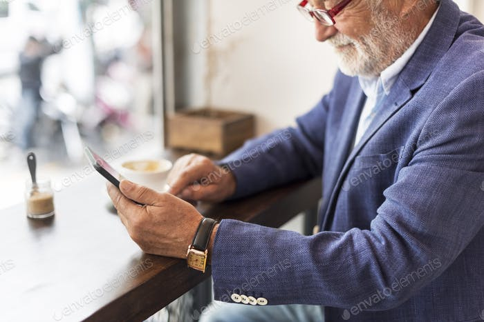 Senior Man Coffee Shop Communication Connection Technology Conce