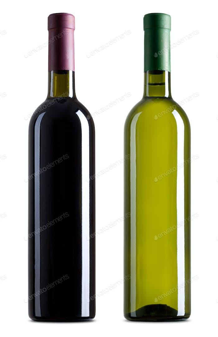 Rot- und Weißweinflaschen