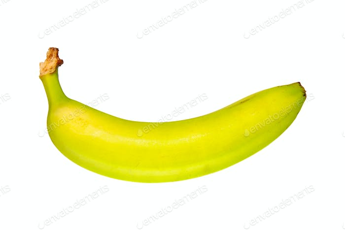 Unripe banana on a white background