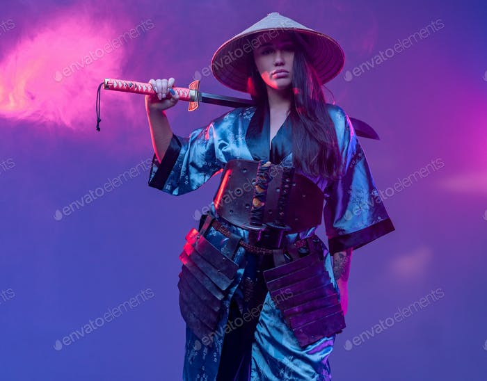 Cyberpunk woman assassin from east holding sword