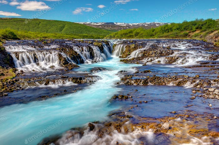 The lovely Bruarfoss waterfall in Iceland