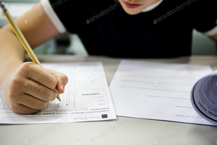 Student doing the test exam