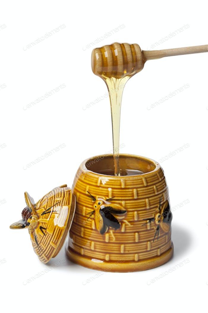 Classic ceramic honey pot