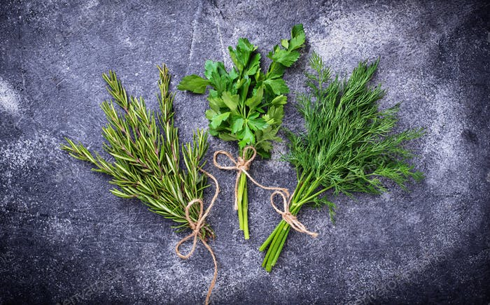 Mix of herbs. Rosemary, dill and parsley