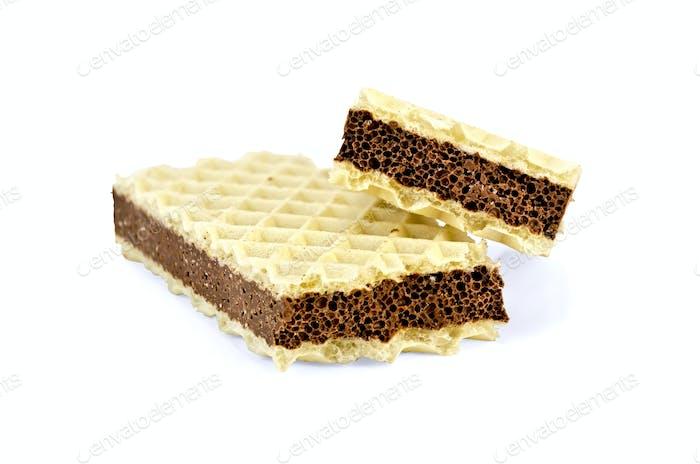 Waffel mit einer Schicht poröser Schokolade