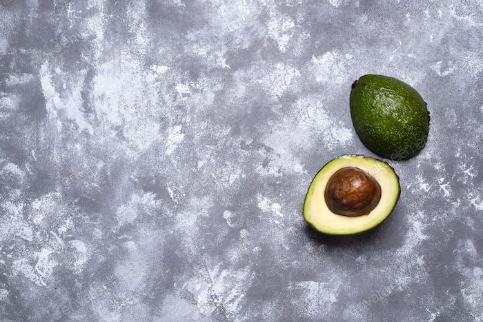 Green ripe avocado from organic avocado