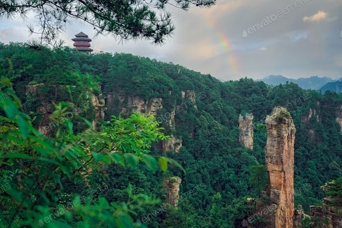 Landscape of Stone Tianzi Mountain pillars in Zhangjiajie