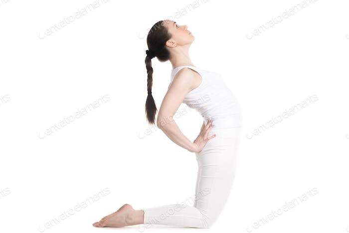 Yogi female doing Camel Pose