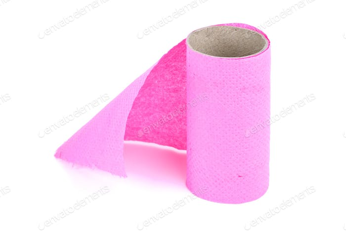 Finished roll of pink toilet paper