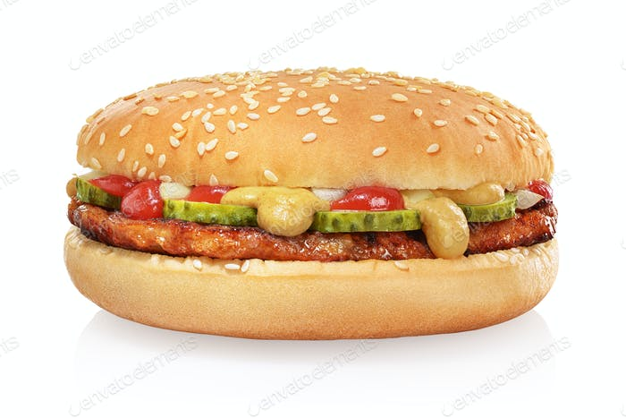 Classic hamburger isolated on white