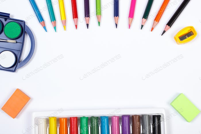 School accessories on white background, copy space for text
