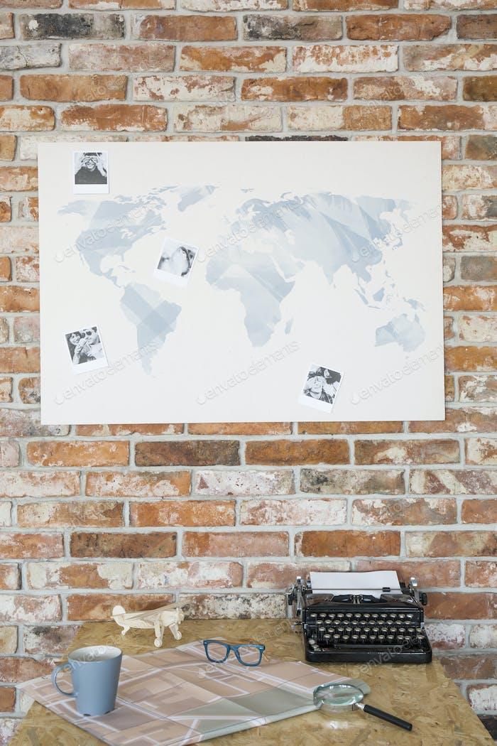 Map on a brick wall