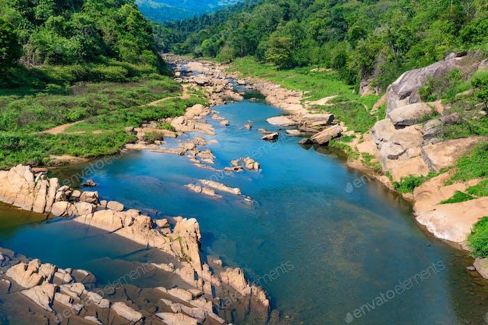 Landscape of river in jungle of Sri Lanka