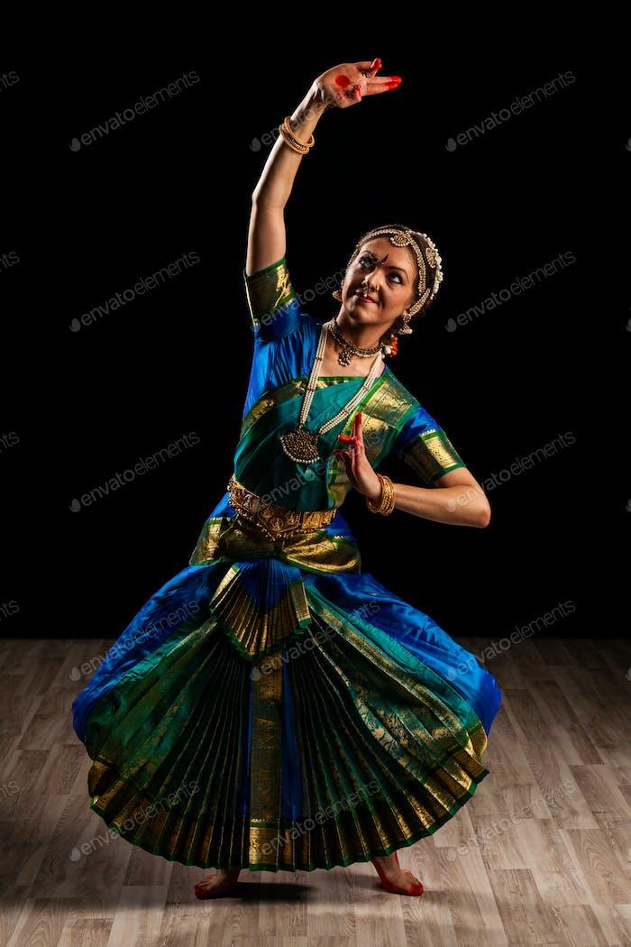 Beautiful dancer of Indian dance Bharatanatyam