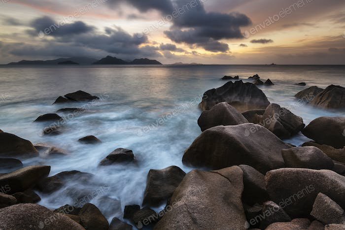 La Digue Coast Sunset, Seychelles